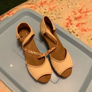 Cream and tan wedge with ankle strap